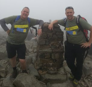 Scafell Pike, Kevin Druce and Lee Howlett climb a montain for Marie Curie